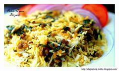 Spinach n Lentils Spicy Rice - Palak Masoor Biryani