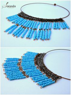 Donika Art: Crochet wire  necklace and spring colors! I love this turquoise necklace. it's my favorite!