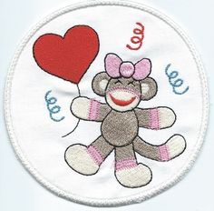 Iron-On Birthday Sock Monkey Patch newest machine by QUILTSRUS08