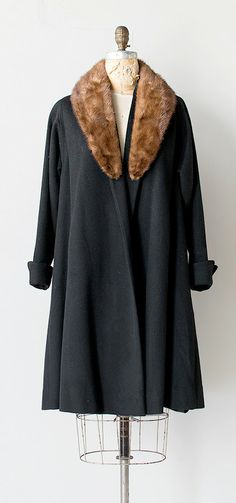 vintage 1950s swing opera coat with fox fur collar | The Piano Plays Coat
