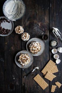 Chocolate whiskey meringue tarts.