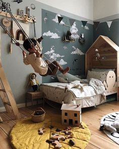 Find: Viktoria s Awe-Inspiring Kids Rooms Filled With Pretty Design Find: Viktorias beeindruckende Kinderzimmer mit hbschem Kids Bedroom Designs, Kids Room Design, Design Bedroom, Nordic Design, Girls Bedroom, Kid Bedrooms, Trendy Bedroom, Kids Bedroom Paint, Boy Toddler Bedroom