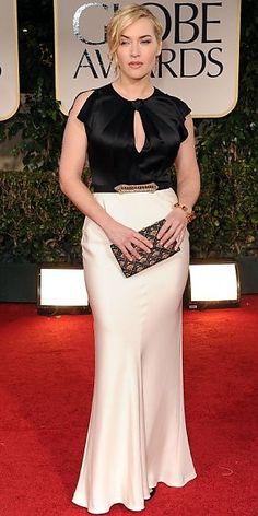 KATE WINSLET    La combinación de blanco y negro se dejó sentir en las pasarelas de Primera/Verano 2012 de marcas como Carolina Herrera, Lanvin, Roland Mouret, entre otras. La actriz británica lució esta tendencia con un traje de Jenny Packham en la alfombra de los Golden Globes.