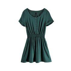 Green Round Neck Short Sleeve Polka Dot Dress ($29) via Polyvore