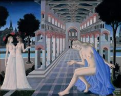 Gallery 1958 by Paul Delvaux Born: 23 September Antheit, Belgium Died: 20 July Veurne, Belgium Style: Metaphysical art private collection Paul Delvaux, Rene Magritte, Bruges, Drawing, Female Art, Les Oeuvres, Modern Art, Photos, Sculpture