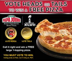 Possible FREE Large Pizza from Papa Johns on http://hunt4freebies.com