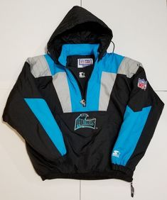 b6ac2d96d1b7 Vintage Carolina Panthers NFL Starter Pro Line 1 4 Zip Winter Pullover  Jacket L