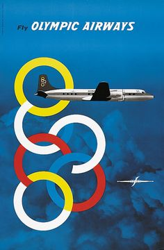 olympic airways poster Poster Ads, Advertising Poster, Vintage Labels, Vintage Ads, Vintage Airline, Old Posters, Jets, Olympic Airlines, Airline Logo