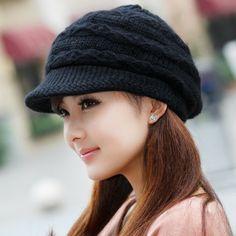 sombrero de la mujer de otoño e invierno mujer sombrero del invierno sombrero de punto doble capa