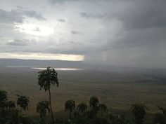 Ngorongoro Crater in Africa, as seen from the eastern rim