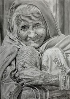 """Old Woman"" Pencil on Bristol 300 16"" x 22"" From a Malgorzata Timinska's photography"