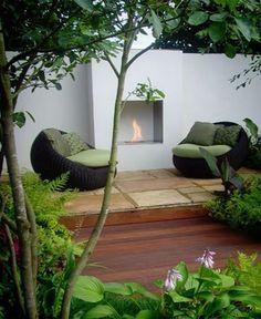 EcoSmart Firebox Ventless Fireplace Outdoor Seating, Outdoor Rooms, Outdoor Living, Outdoor Decor, Outdoor Furniture, Wall Mounted Fireplace, Freestanding Fireplace, Fireplace Garden, Cozy Fireplace