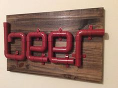 Red copper pipe beer sign, wood pipe beer sign, man cave beer sign, bar beer…