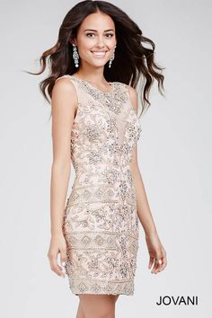 Blush Backless Embellished Short Dress With Illusion Neckline 28638