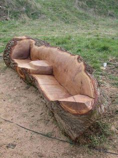 OMGosh !! This is too cool !! Hand hewn log bench ~