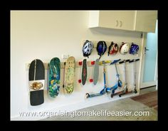 Skateboard Storage, Scooter Storage, Bicycle Storage, Diy Bike Rack, Scooter Scooter, Skateboard Art, Garage Storage Solutions, Diy Garage Storage, Sports Equipment Storage