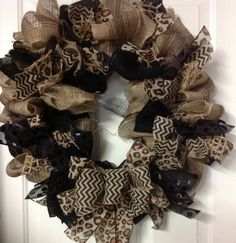 Chevrons and Leopard Burlap Wreath on Etsy, $38.00