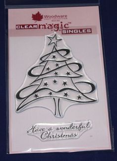 NEW Woodware  Swirly Star Tree  Christmas Clear Stamp JGS320