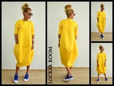 Yellow loose tunic / Oversize neoprene от ClothesByLockerRoom