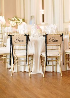 Gold Chiavari Chairs + A touch of Black on the chair decor - more of the ballroom wedding here: http://www.StyleMePretty.com/2014/04/01/all-out-classic-ballroom-wedding/ Photography: Marta Locklear - martalocklear.4ormat.com