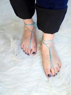 Barefoot Sandals Foot jewelry  Yoga Anklet  by NMNHANDMADE on Etsy, $10.00