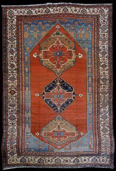 11.7 x 17.5 Over Size Antique Bakshaish Carpet, Open Field Design, Northwest Persian, Circa 1900