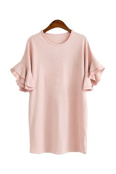 'Ismay' Ruffle Bell Sleeved Casual Cotton Dress