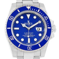 16029P Rolex Submariner 18K White Gold Blue Dial Ceramic Bezel Watch 116619 SwissWatchExpo