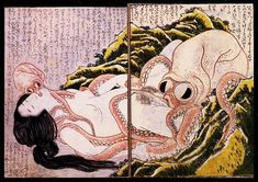 Katsushika Hokusai - The Dream of the Fisherman's Wife - Japanese Art Print - Asian Wall Decor - Chinese Style Drawing Japanese Prints, Japanese Art, Traditional Japanese, Monte Fuji, Katsushika Hokusai, Spring Pictures, Tentacle, Woodblock Print, Heritage Image