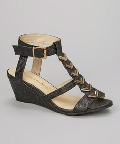 Take a look at this Black & Gold Chevron Wedge Sandal on @zulily today! I just bought this shoe!