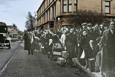 Evacuees from the Clydebank Blitz, March at the Clydebank Cross of (Love these duel before & after photographs) Visiting Scotland, Scotland Travel, Blitz Kids, The Blitz, Glasgow Scotland, Battle Of Britain, Short Trip, Great Britain, Ghosts
