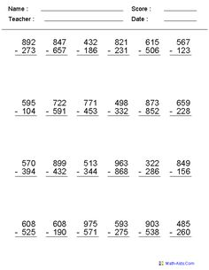 √ Subtraction Activities for Grade 3 . 22 Subtraction Activities for Grade 3 . Addition and Subtraction Activities for Kids Fundamental Methods Subtraction Across Zeros, Subtraction With Regrouping Worksheets, Subtraction Activities, Addition Worksheets, Math Addition, Decimals Worksheets, Multiplication, 3rd Grade Math Worksheets, Fourth Grade Math