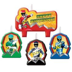Dress up your delicious cake with this fun Power Rangers Dino Charge Birthday Candle Set! The set includes 1 large candle and 3 smaller candles. Please note: to prevent fire, burn within sight. Keep a