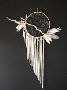Dream Catcher Natural and Pale blue/grey by ReverieDreamCatchers, $200.00