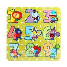 Lovely Children Favourite Wooden Puzzles Number 1-9 each with Cartoon Animal Wood Toys Educational Toys Wood Puzzle