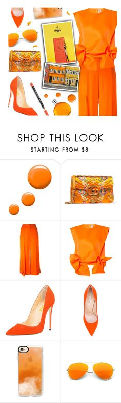 """""""Orange Total Look"""" by the-amj ❤ liked on Polyvore featuring Topshop, Gucci, Dorothee Schumacher, Maison Rabih Kayrouz, Casadei, Casetify, MoMo and Hermès"""