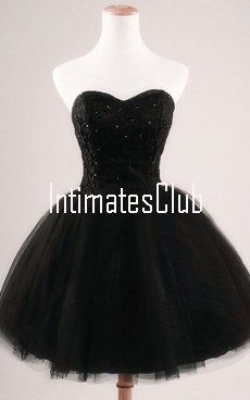 Black Sleeveless Ball Gown Mini Sweetheart Tulle Appliques Lace Sequins Strapless Short Homecoming Dress