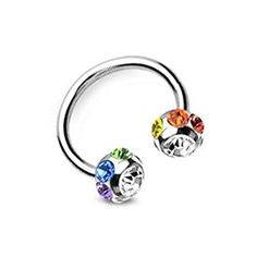Multi Gem Horseshoe Barbell  Navel Belly Ring Eyebrow Nipple etc Gay and Lesbian Pride Body Jewelry  LGBT Belly Button Navel Rings -- Click image to review more details.