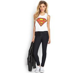 FOREVER 21 Superman Muscle Tee (44 BRL) ❤ liked on Polyvore featuring tops, outfits, superman tank, superman top, superman tank top, forever 21 tank tops and forever 21 tops