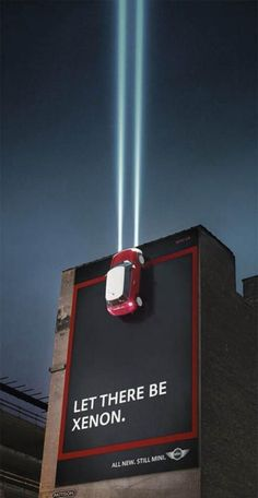 MINI promotes their Xenon headlights in the most creative way. Out Of Home Advertising, Clever Advertising, Marketing And Advertising, Virales Marketing, Guerrilla Advertising, Advertising Design, Advertising Campaign, Visual Advertising, Marketing Innovation
