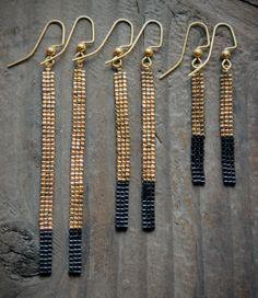 18K Gold Plated Bead short Bar Earrings by AYAJewelryStudio