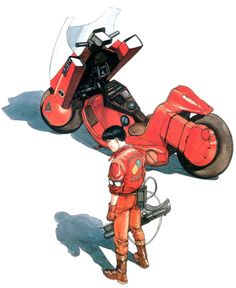 AKIRA Katsuhiro Otomo, Kaneda and his awesome bike. thes sound of which was created by combining the sounds of a 1929 Harley Davidson motorcycle with the sound of a  jet engine