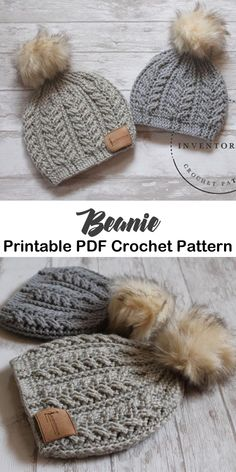 beanie crochet patterns - winter hat crochet patterns - crochet pattern pdf - am. beanie crochet patterns - winter hat crochet patterns - crochet pattern pdf - am. Crochet Adult Hat, Bonnet Crochet, Crochet Beanie Pattern, Cute Crochet, Beautiful Crochet, Crochet Crafts, Crochet Projects, Crochet Cable, Girl Crochet Hat