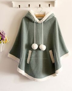 Sweet Style Scoop Neck Hooded Short Plush Embellished Cotton Fleece Cloak For Women (WATERMELON RED,ONE SIZE) | Sammydress.com
