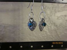 A11 Silver Heart w/Turquoise Accent Dangle by ParadiseKreations
