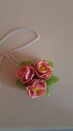 Cold Porcelain Minimal Collier Necklace  Flowers by WorldOfIrena