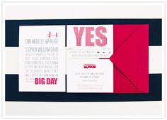 Red, modern wedding invites from Hello!Lucky