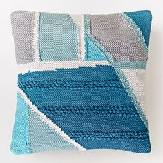 Chindi Colorblock Shag Pillow Cover - Blue Teal #westelm
