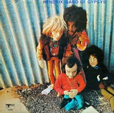 Jimi Hendrix - Band of Gypsys, 1970.Dolls by Saskia De Boer, photography by Peter Sanders. The puppet/doll images depicted on the front of the sleeve are of Jimi Hendrix, Bob Dylan, Brian Jones (Rolling Stones) and the legendary radio 1 DJ John Peel.