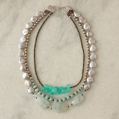 Sea Layers Necklace - Aquamarine, chalcedony, amazonite, pyrite, freshwater pearls, sterling silver